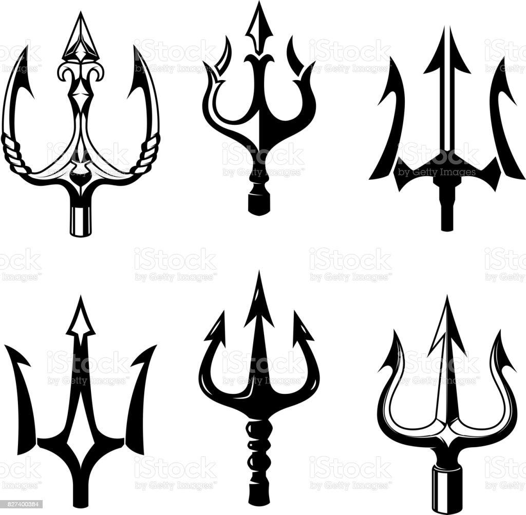 Set of trident icons isolated on white background. Design elements for label, emblem, sign. Vector illustration vector art illustration