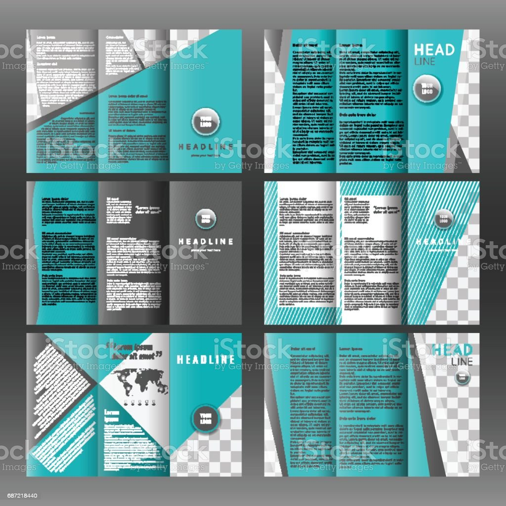 set of trifold layout brochure template design corporate booklet stock vector art  u0026 more images