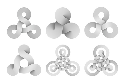 Set of triquetra knot signs made of three connected disks and rings made of different types intersection. Vector illustration.