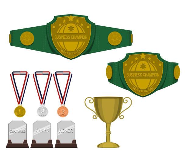 Set of trophy award on transparent background vector art illustration