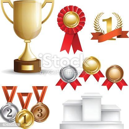 istock Set of trophy awards 626303326