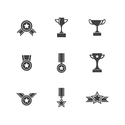 Set of Trophy Prize and Award Icons