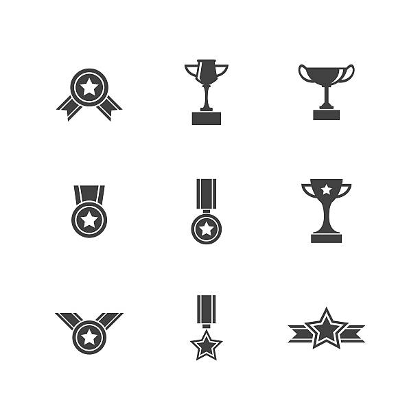 Set of Trophy Prize and Award Icons Trophy prize and award icons vector set in difference style on white background. Easy to resize and re-color emergency equipment stock illustrations