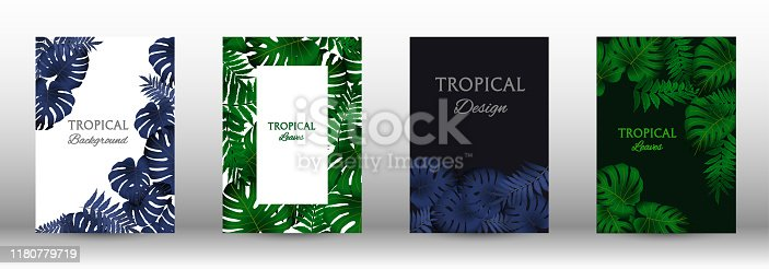 Tropic covers set.  Colorful tropical leaves patterns. Exotic botanical design. Modern Front Page in Vector