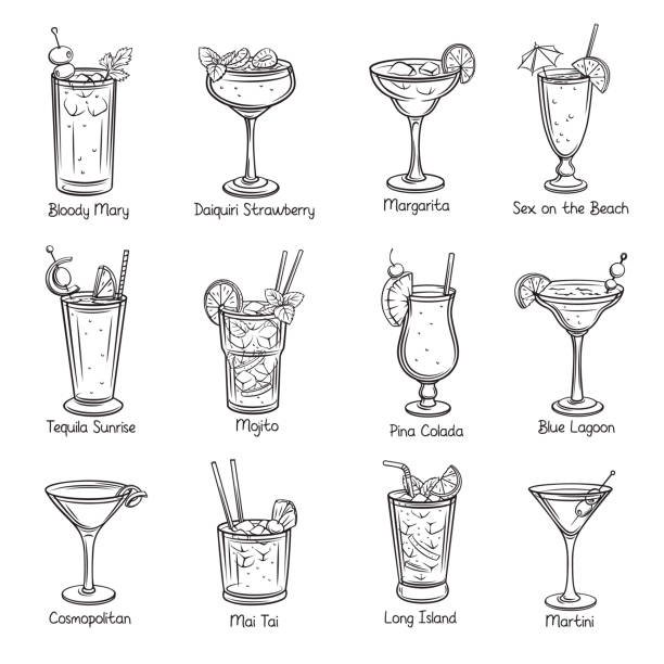 set of tropical cocklails - alcohol drink drawings stock illustrations