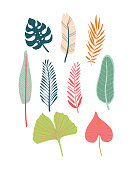 Vector illustration of various tropical leaves in bright colours: pink, light green, dark green and light red.