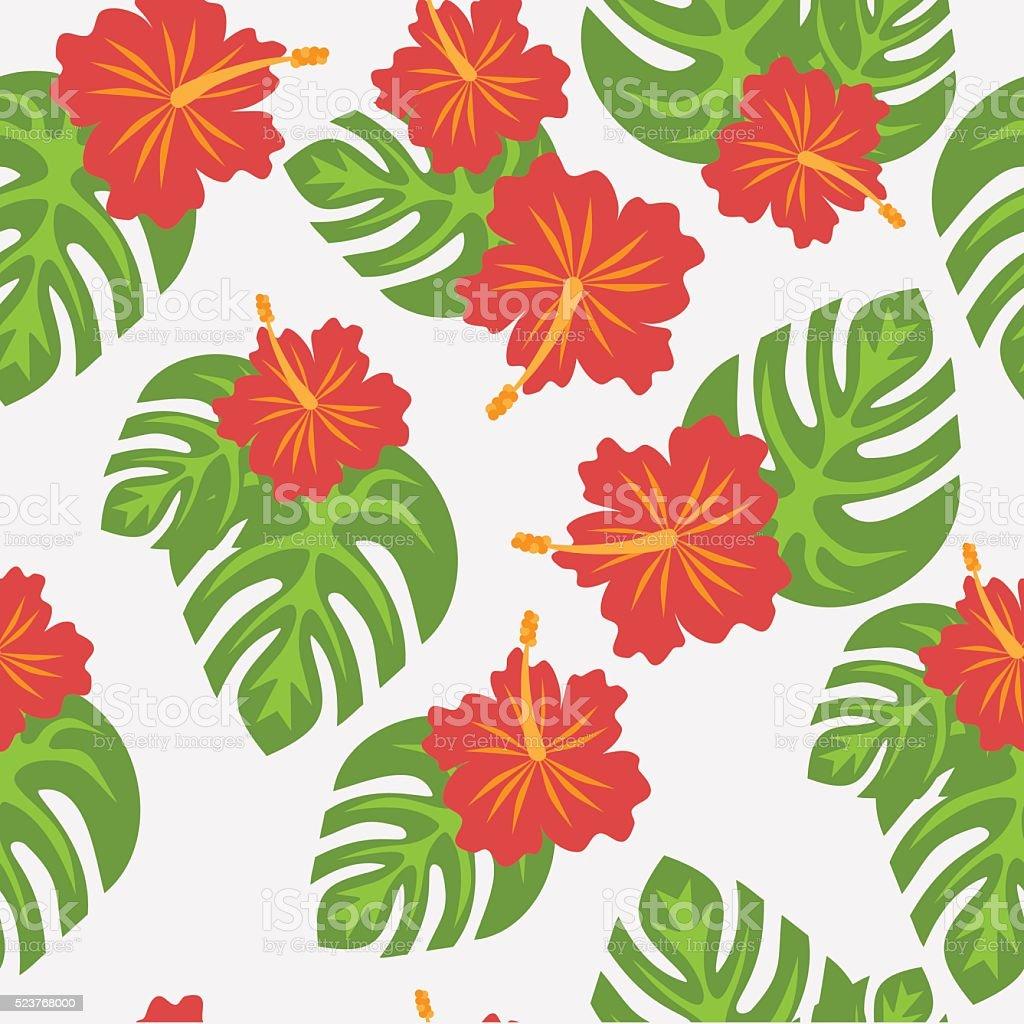 conjunto de folhas de palmeira tropical e flores flor de