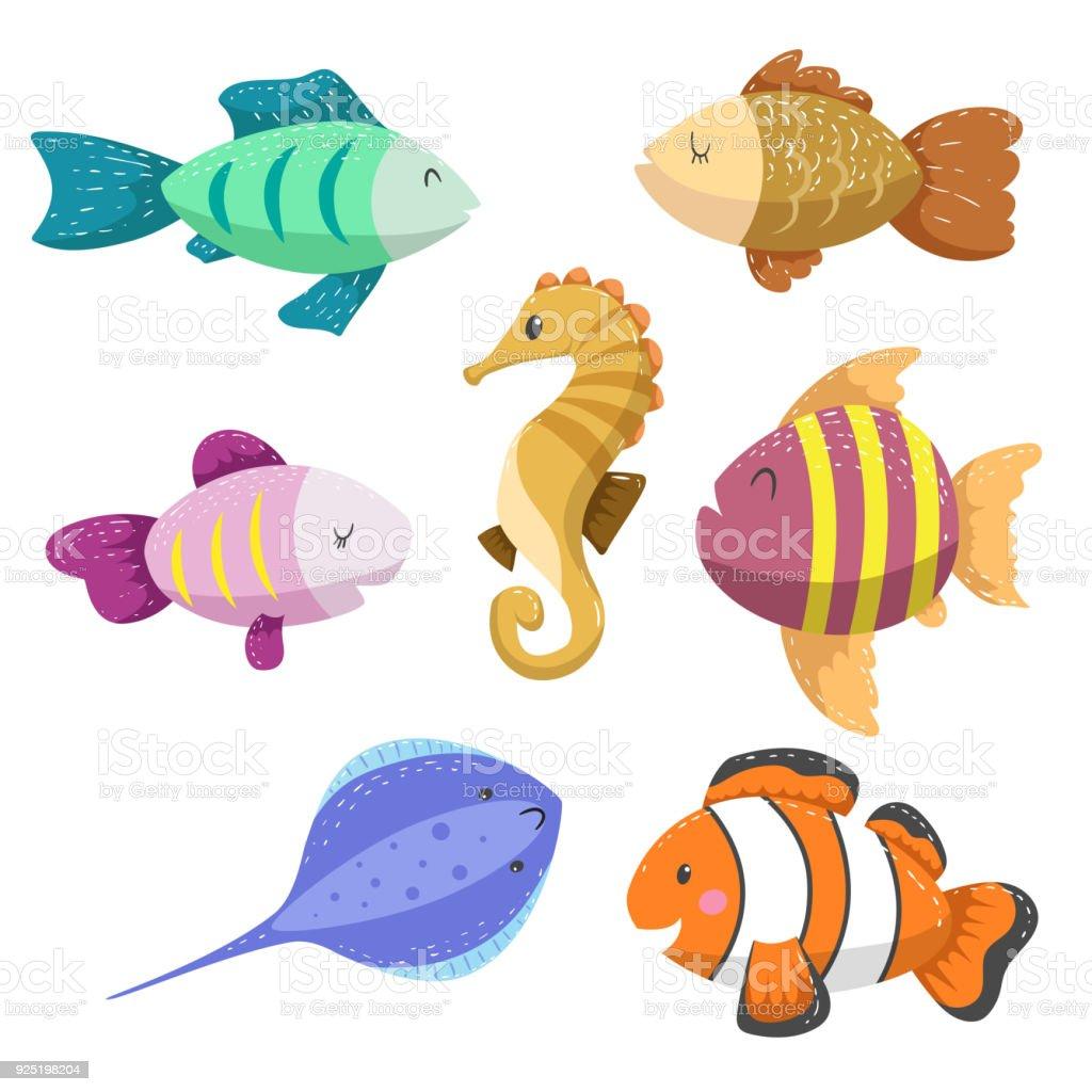 Set Of Tropical Sea And Ocean Animals Seahorse Clown Fish Stingray ...
