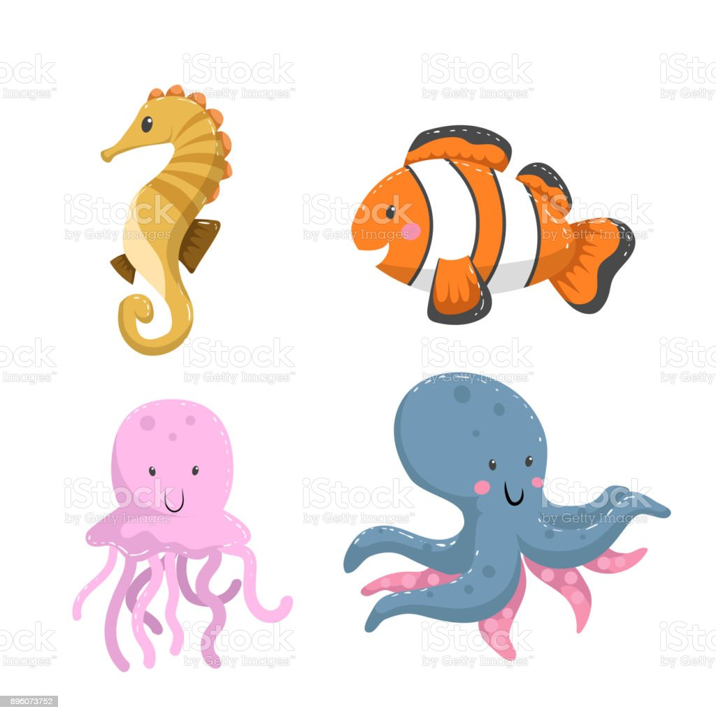 Set Of Tropical Sea And Ocean Animals Seahorse Clownfish Jellyfish ...