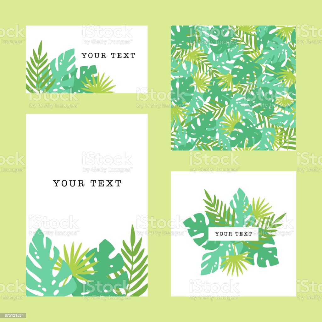 Set of tropical template. Vector goods vector art illustration