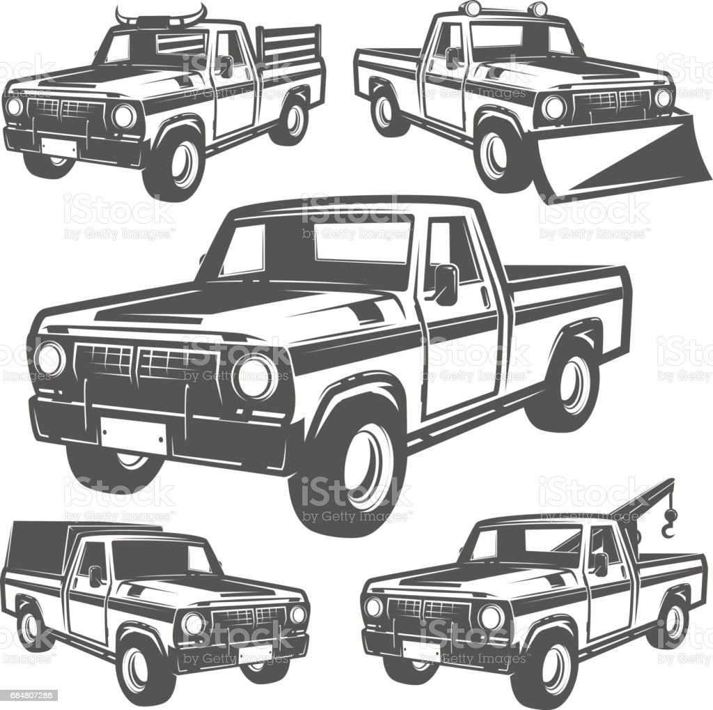 Set of truck and pickup for emlems and symbol vector art illustration