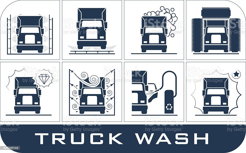 Set of truck washing icons. vector art illustration
