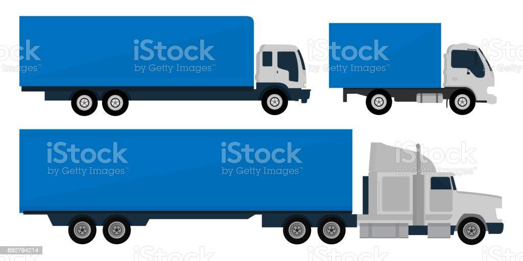 Set of trucks and trailers vector art illustration