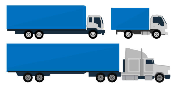 Set of trucks and trailers vector art illustration