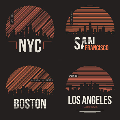 Set of t-shirt designs with us cities silhouettes.