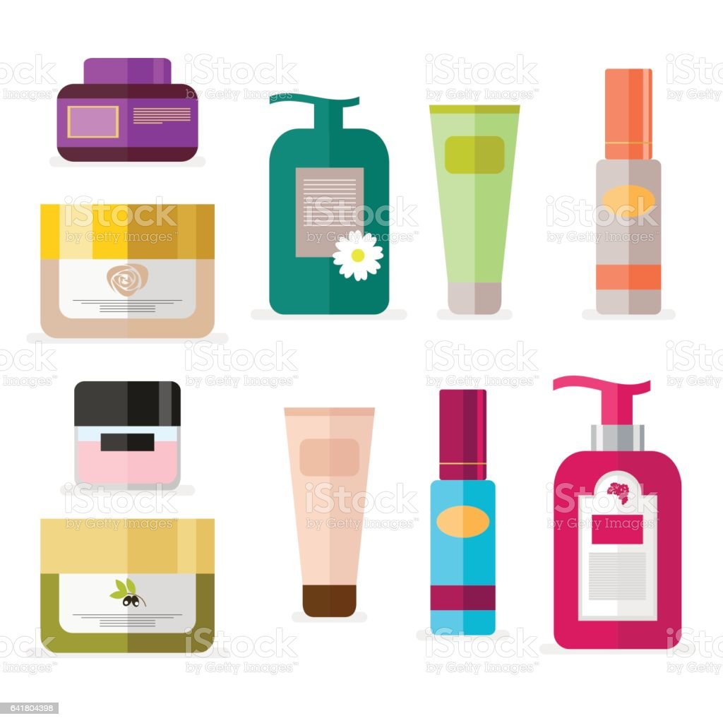 Set of tubes and vials cosmetics. Tools for beauty and skin care. Vector, illustration isolated on white background EPS10. vector art illustration
