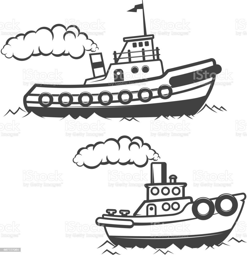 Set of tugboat illustration isolated on white background. Boat icon. Design elements for logo, label, emblem, sign, brand mark. vector art illustration