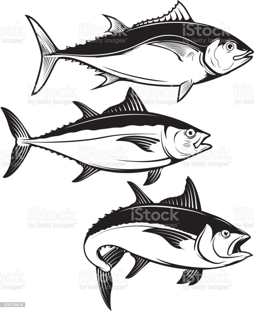 Set of tuna fish icons isolated on white background. vector art illustration
