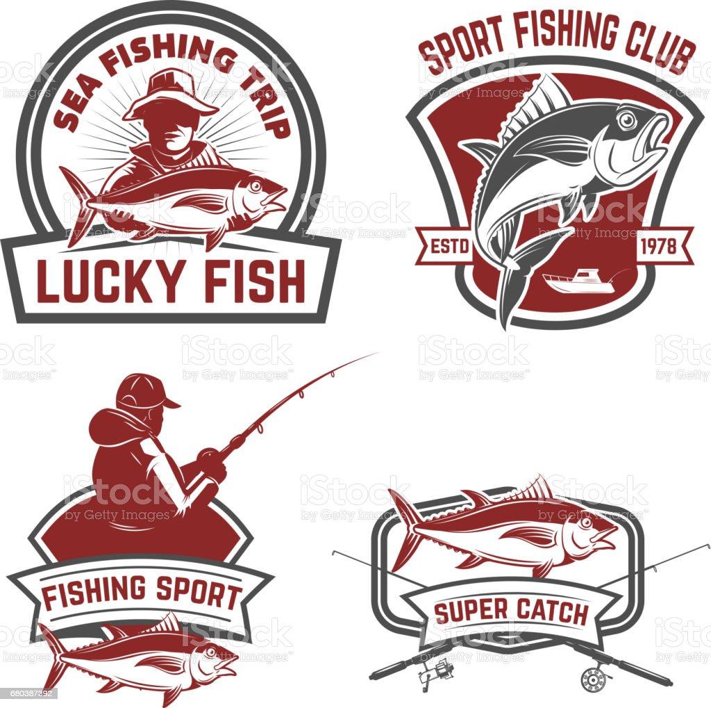 Set of tuna fishing labels. Design elements for emblem, design. Vector illustration. vector art illustration
