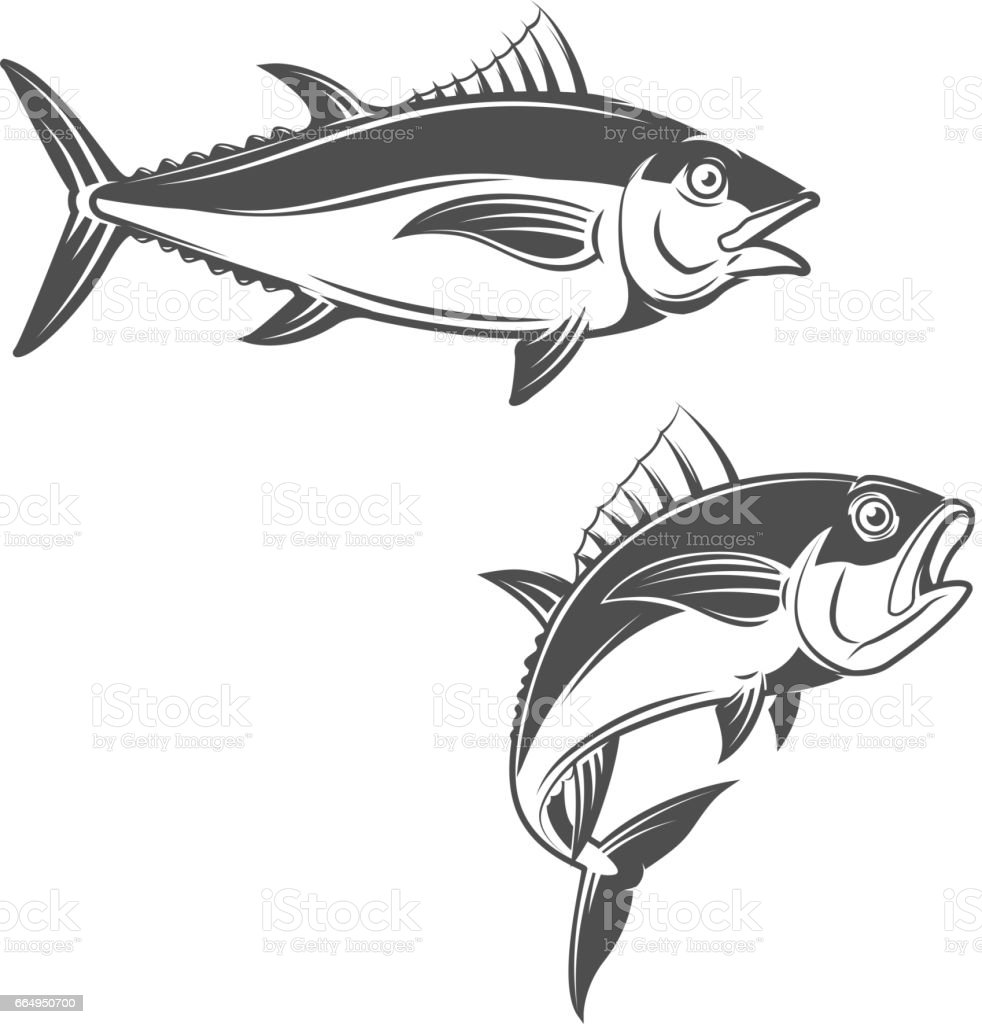 Set of tuna icons vector art illustration