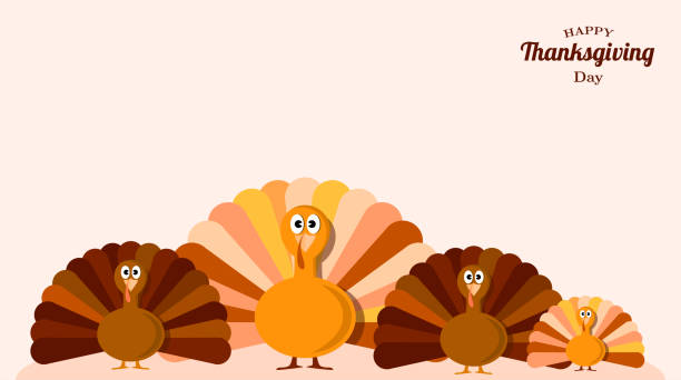 set of turkeys . fun background for thanksgiving day. vector illustration design. - thanksgiving turkey stock illustrations