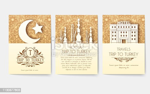 Set of Turkish flyer page ornament illustration concept. Art traditional, Islam, Arabic, abstract, ottoman motifs, elements. Vector decorative ethnic greeting card or invitation design background