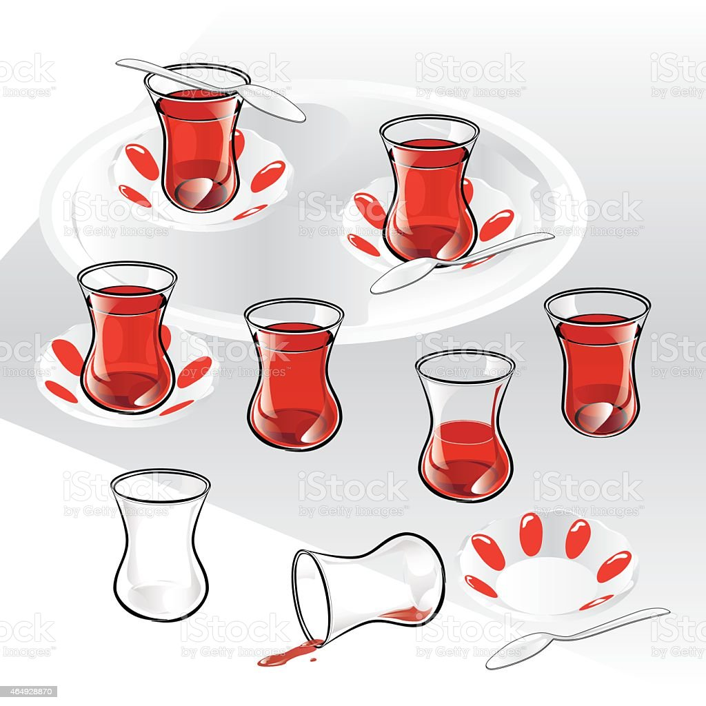 Set of Turkish Tea and components. vector art illustration