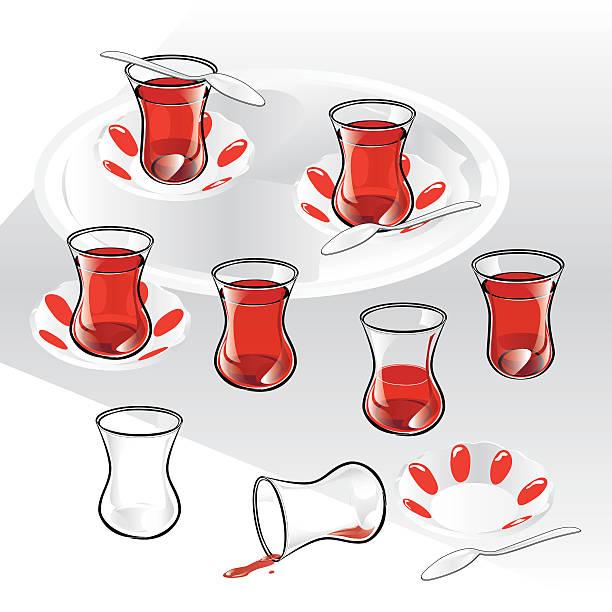 Set of Turkish Tea and components. vector art illustration