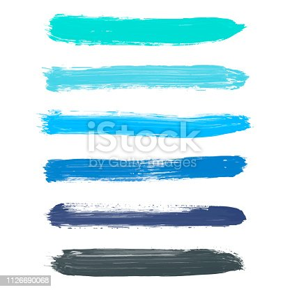Set of turquoise blue, indigo, black vector watercolor hand painted gradient stripes isolated on white background. Collection of acrylic dry brush stains, strokes, geometric horizontal lines. Creative illustration frame for design.