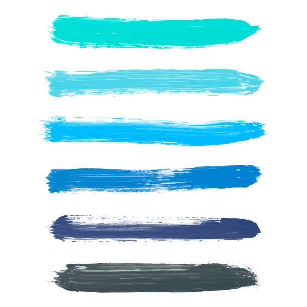 Set of turquoise blue, indigo, black vector watercolor Set of turquoise blue, indigo, black vector watercolor hand painted gradient stripes isolated on white background. Collection of acrylic dry brush stains, strokes, geometric horizontal lines. Creative illustration frame for design. acrylic painting stock illustrations
