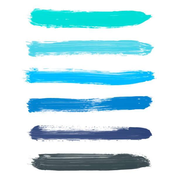 ilustrações de stock, clip art, desenhos animados e ícones de set of turquoise blue, indigo, black vector watercolor - pintura