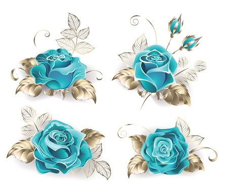 Set of turquoise roses
