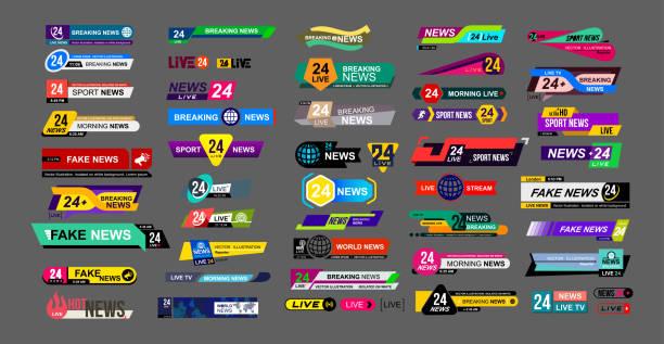 tv 뉴스 바의 집합입니다. 뉴스 기호, 스트리밍 비디오입니다. 가짜, 스포츠 뉴스 속보. 로그인을 인터페이스입니다. mockup 템플릿 디자인에 대 한 준비. 벡터 일러스트입니다. 회색 배경에 절연 - 역사적 중대 사건 stock illustrations