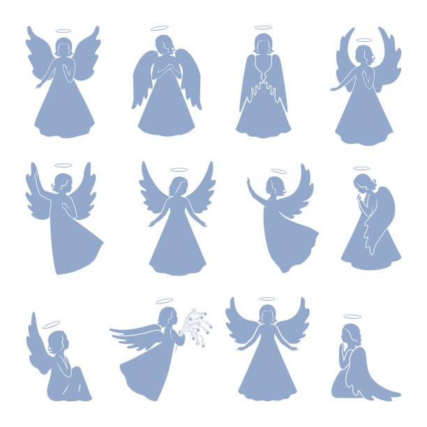 stockillustraties, clipart, cartoons en iconen met set van twaalf silhouetten van de engel - engel