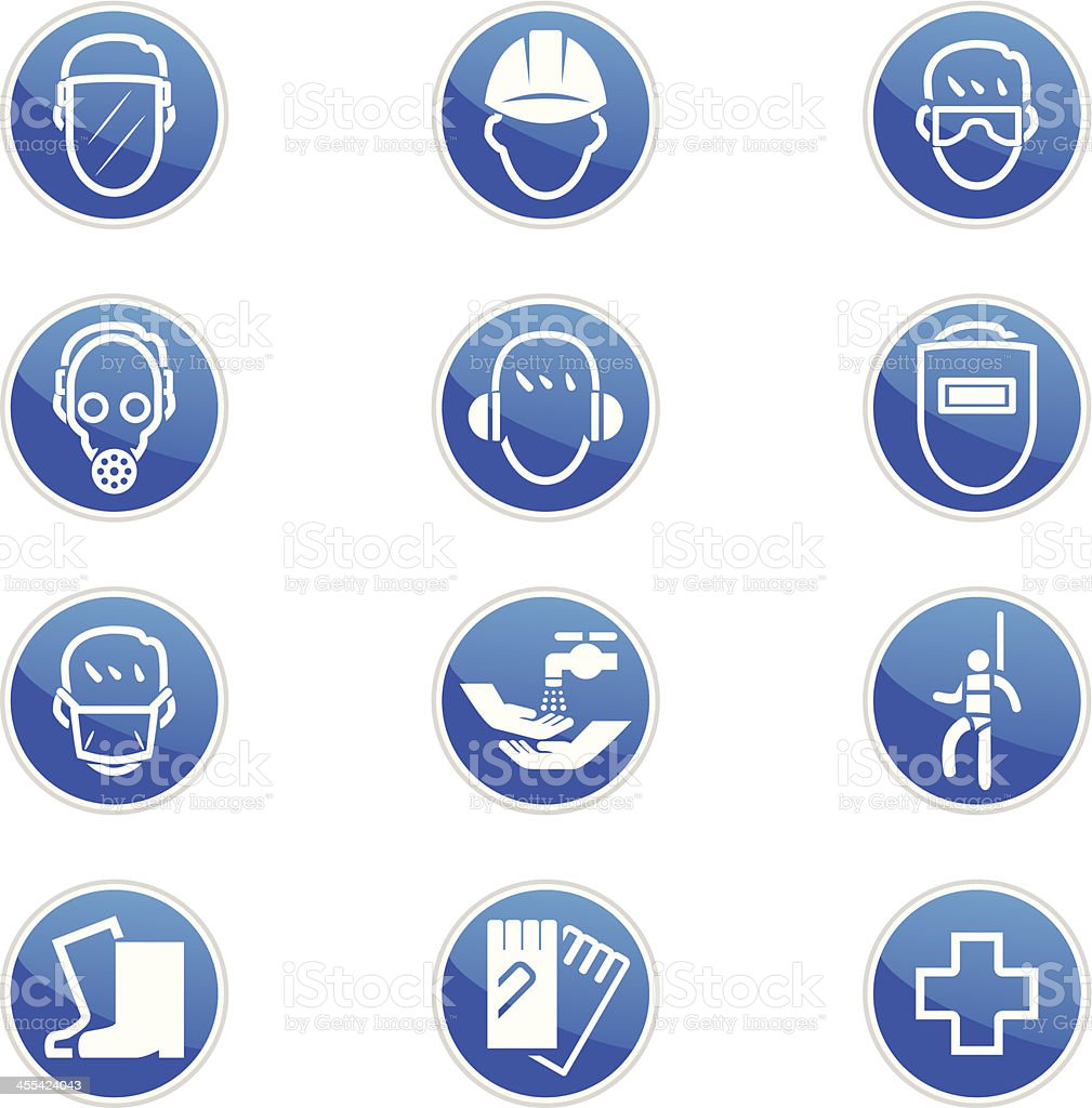 Set of twelve blue and white safety icons royalty-free stock vector art