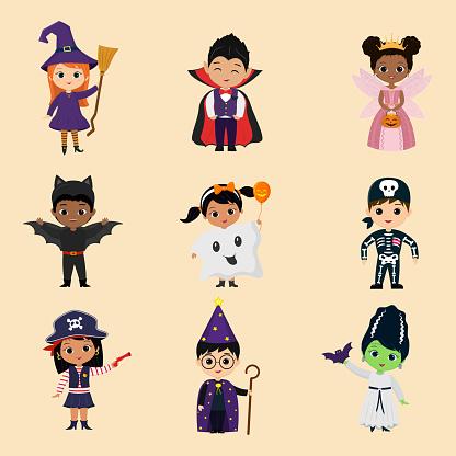 Set of twelve characters children of the Halloween party. Children in colorful Halloween costumes cartoon style. Vector