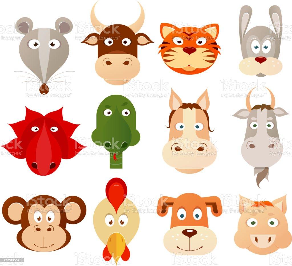 Set of twelve Chinese zodiac symbols vector art illustration