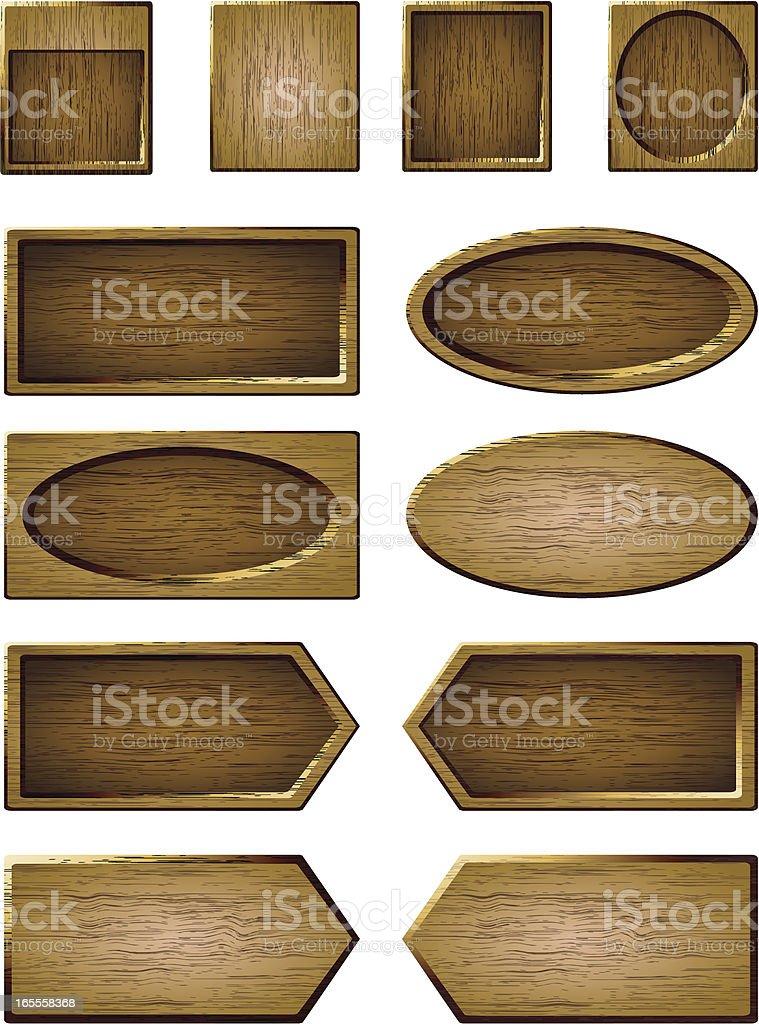Set of twelve customizable wooden board templates royalty-free stock vector art