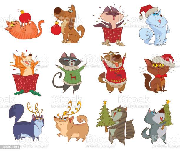 Set of twelve cute christmas cats and dogs vector id889938434?b=1&k=6&m=889938434&s=612x612&h=1pshcglkgxpdxmq9s6762agpywqw0sdb5hbkexukf7q=