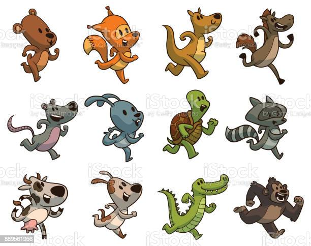 Set of twelve cute running animals color image vector id889561956?b=1&k=6&m=889561956&s=612x612&h=mfcpi bgzzxvp5p hcc8dbnerhpvfgn4ww6i7 pxzdc=