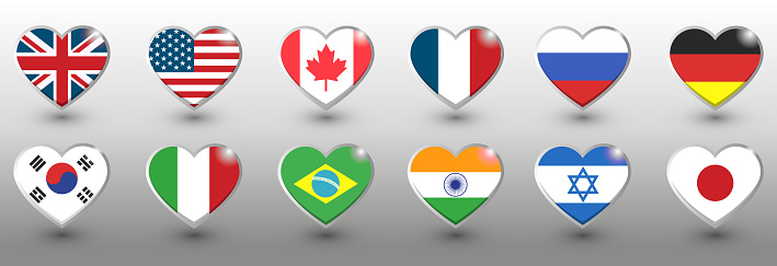 Set of twelve flags in heart shape style. Popular countries, vector illustration