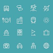 Icon Set, Travel items on cyan background, made in adobe Illustrator (vector)