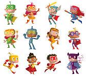 Set of twelve funny children in superhero costumes