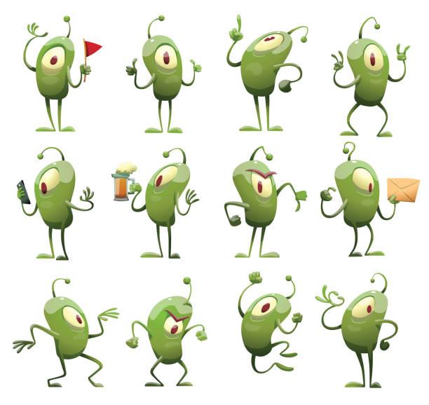 Set of twelve funny green microbes, new vector art illustration