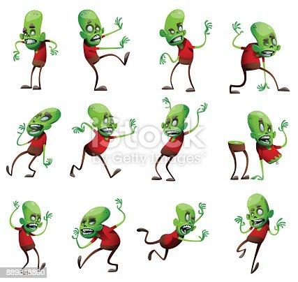 Set of twelve funny green zombies
