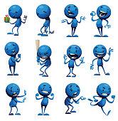 Set of twelve funny little blue men