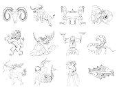 Set of twelve hand drawn zodiac signs