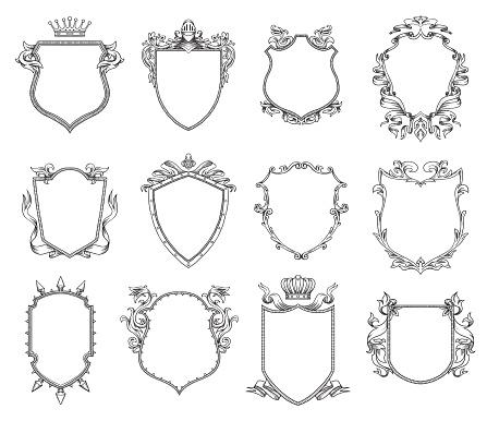 Set of twelve heraldic shields, line art