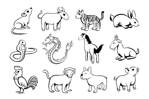 Set of twelve lunar zodiac horoscope symbol. Concept chinese happy new year. line art  vector illustration cartoon of twelve animal.