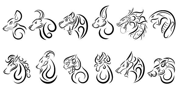 Set of twelve lunar zodiac horoscope symbol. Concept chinese happy new year. line art vector illustration of twelve animal.